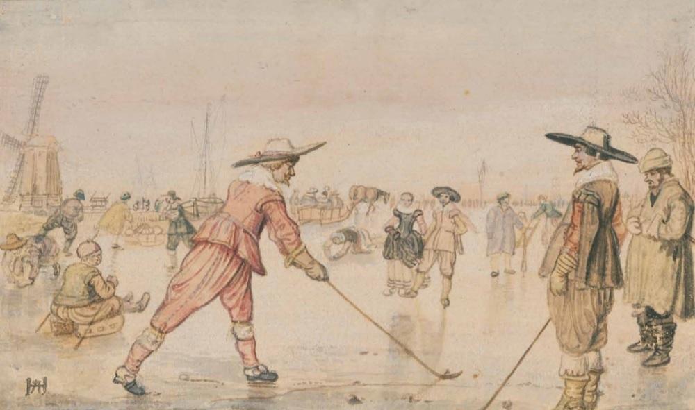 Desenho de 1615, por Hendrik Avercamp, retratando o kolv,  um dos jogos tidos como a origem do golfe