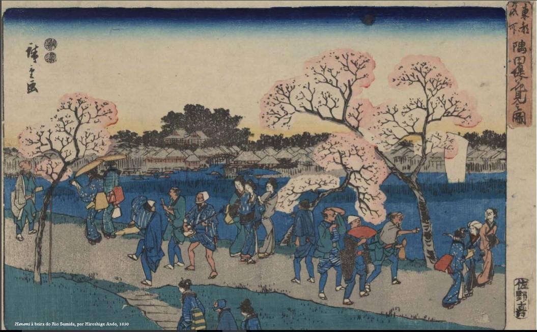 Hanami à beira do Rio Sumida, por Hiroshige Ando, 1850
